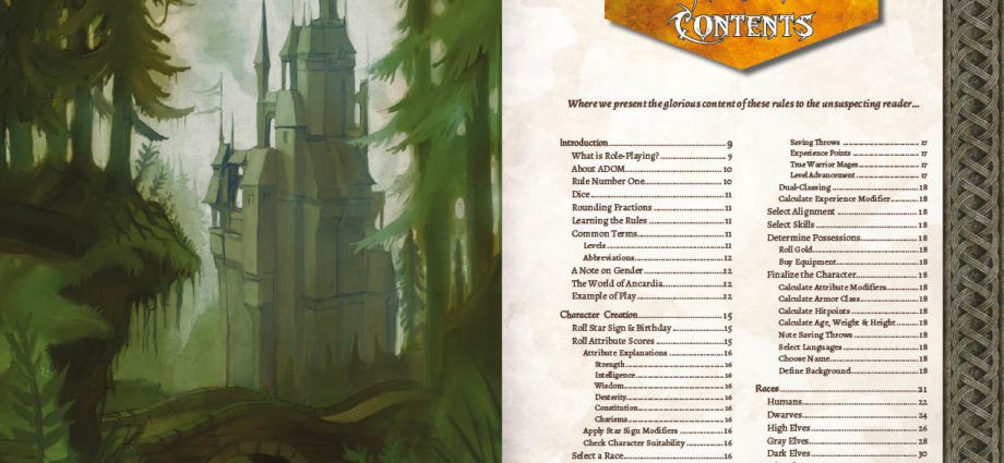 Table of Content - ADOM RPG PHB